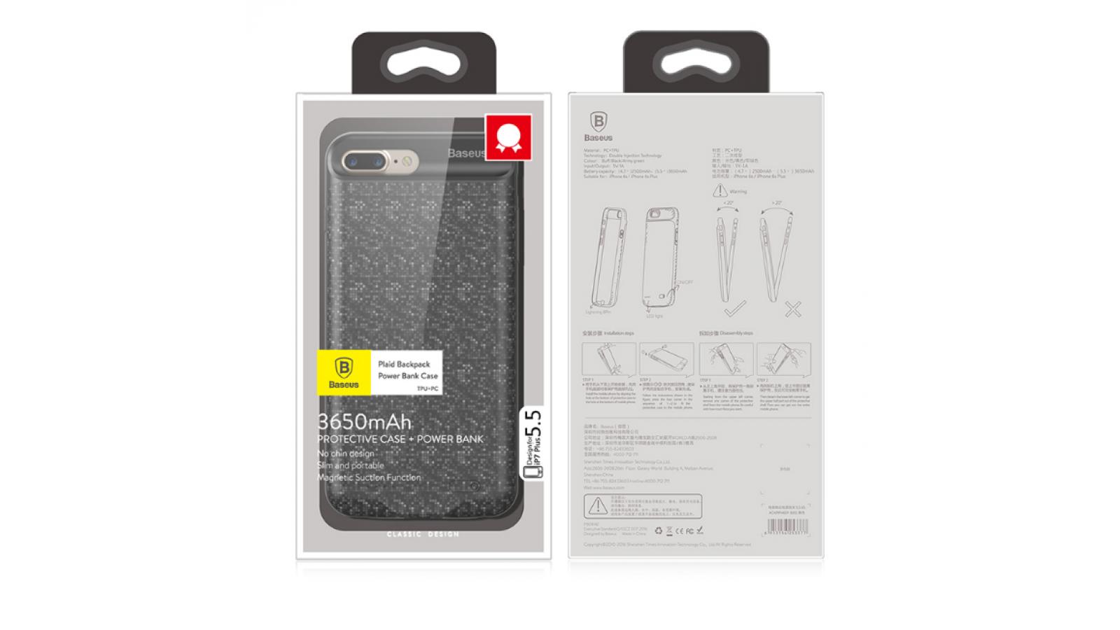 Funda carcasa protectora con batería de respaldo powerbank backpack para iPhone